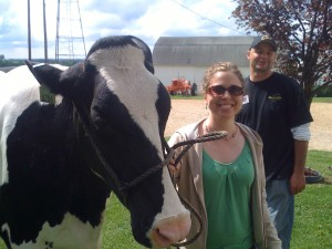 Sarah with a Cow